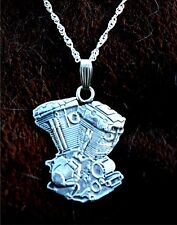 VERY unique detailed Harley Engine Sterling Silver pendant neckalce