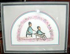 """P BUCKLEY MOSS """"SISTER'S RIDE""""  8-5/8 X 12-1/4 """" - SIGNED - MATTED - FRAMED"""