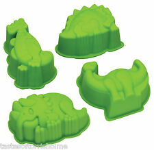 Kitchen Craft Set Of 4 Dinosaur Silicone Cake Oven Baking / Jelly Moulds