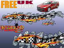 Pair of Full Colour Flame/Chequered Flag Car Decals/Graphics - Free Delivery!