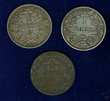 GERMANY EMPIRE  1 MARK COINS: 1876-A, 1906-F, & 1915-A