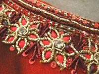 Red Orange Tie Dye Gold embellished Hippy boho side slit Tunic Dress Long Top S