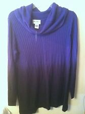 NEW..KATE & MALLORY..M..PURPLE/BLACK SWEATER..CASUAL..ACRYLIC..COWL NECK