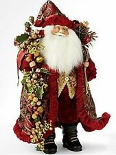 "WOW 18"" Tall Santa Claus Hand Crafted Christmas Belle Epoque Holding Gifts"