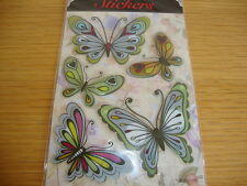 """AUTOCOLLANTS STICKERS """"PAPILLONS VERTS"""" RELIEF"""