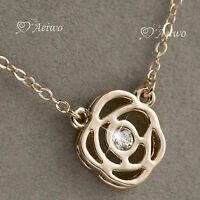 18K ROSE GOLD GF MADE WITH SWAROVSKI CRYSTAL FLOWER PENDANT NECKLACE