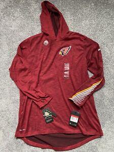 New Nike Arizona Cardinals Dri-Fit Cotton Hooded Long Sleeve Shirt Men's Large L