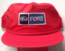 1970s 1980s FORD MOTOR COMPANY TRUCKER BASEBALL CAP HAT, RED BRIM CORD, NEW NOS