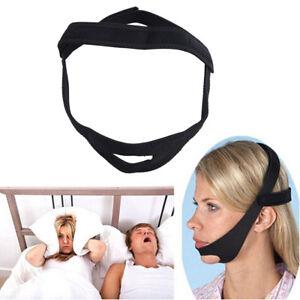 Black Snore Stop Belt Anti Snoring Cpap Chin Strap Sleep Apnea Jaw Solution