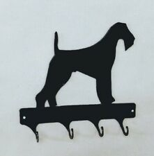 Airedale Terrier 4 Hook Leash or Key Holder Black Wrought Iron Look Made in Usa