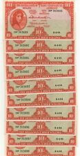 IRELAND 10 x 1964 CONSECUTIVE 10/ SHILLING  LADY LAVERY BANKNOTE'S