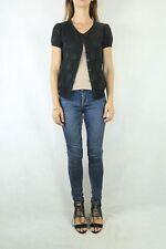CUE Black Spot Cotton Knit Lightweight Cardigan Size L 12