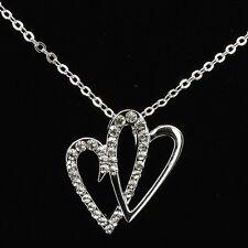 Double Heart Love Necklace Pendant Charm Rhinestone Clear Costume Jewelry 18k GP