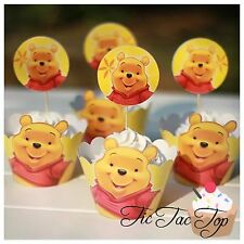12 Winnie The Pooh Cupcake Toppers + 12 Wrappers. Party Cake Jelly Fruit Cup