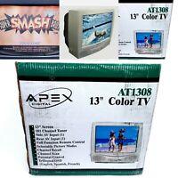 "New In Box CRT Vintage Retro Gaming TV 13"" AV Input W/Remote In Box Apex AT1308"