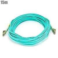 15M LC/LC Fiber Optic 50/125 10Gb Duplex Multi Mode OM3 Optical Patch Cable Aqua