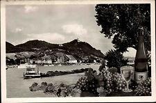 Königswinter am Rhein mit Schiff Frachter ~1950/60 Gesamtansicht mit Drachenfels