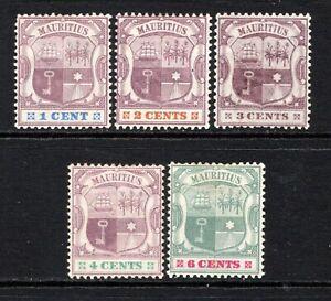 Mauritius 1895-99 (Wmk CA) Set to 6c. SG127-31 M/Mint Cat £25