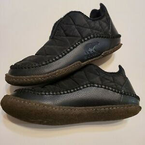 Men's Sorel Manawan II Leather Bootie Slippers Black Nylon
