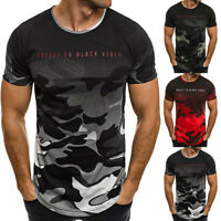 Men's O Neck Round Neck Camo T-shirt Tops Slim Fit Casual Holiday Short Sleeve