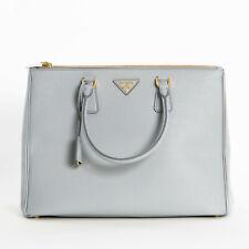 Prada Large Saffiano Lux Double Zip Womens 1BA786 F073X Tote Bag Granito Gray