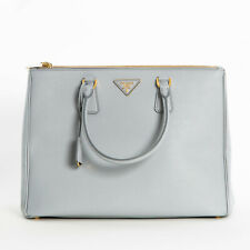 Prada Saffiano Cremallera Doble Lux de gran tamaño para mujer 1BA786 F073X Tote bag Granito Gris