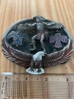 Vintage Cowboy Western Great American Brass Belt Buckle Indian & Eagle