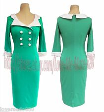 Vintage Rockabilly Retro Contrast Color Wear to Work Tight Bodycon Dress Gree XL