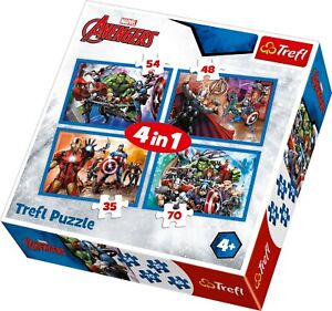 Trefl 4 In 1 35, 48, 54 and 70 Piece Marvel Avengers Fearless Jigsaw Puzzle NEW
