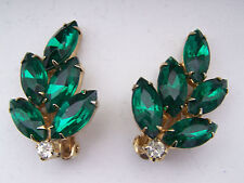 Leaf Earrings - Super! - 367 Vintage Designer Bright Green and Clear Rhinestone