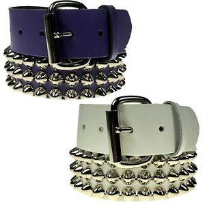 MENS WOMENS GOTHIC DOME CONICAL STUDDED REAL LEATHER HANDMADE LEATHER BELT