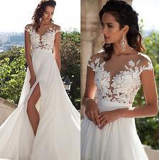 Cheap Simple Beach Wedding Dress Boho Chiffon Bridal Gown Size 6+8+10+12+14+16+
