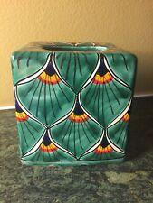 Beautiful Colorful Ceramic Peacock Feather Tissue Box Cover Cardona Mexico