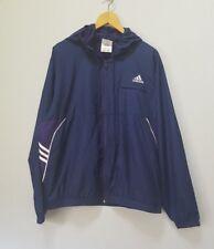Adidas Jacket Men's Size Large L Navy Blue Purple Mesh Lining 3 Stripe Hood GUC!