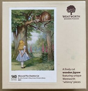 """WENTWORTH """"Alice and The Cheshire Cat"""" 140 piece Wooden JIGSAW PUZZLE Whimsy"""