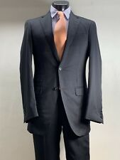 Current Samuelsohn Gray Striped Suit 40 L Vented Working Cuffs Flat Fronted