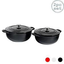 Cast Iron Dutch Oven Casserole Dishes 4 Litre & 3.5L Black