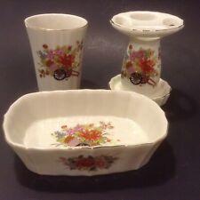Vintage DaVar Japan Bathroom Set Soap Dish Cup Toothbrush Holder Oriental Floral