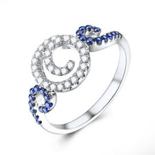Engagement & Wedding 0.5CT Round Natural Diamonds &Sapphires Silver 925 Ring