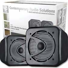 "Pair Of Black 5"" Water-Resistant Cube Speakers 160W HiFi Sound Kitchen Bathroom"