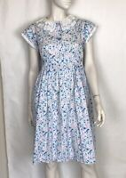 Vintage 80s Babydoll Dress Blue Floral Ruffle S Pastel Kawaii Lolita Kinderwhore