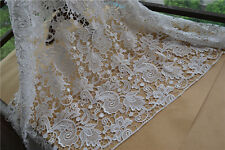 "Stunning 50"" Wide for Bridal Dress Ivory Guipure Embroidery Lace Fabric 1 Yard"
