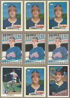 1989 JOHN SMOLTZ Rookie 9 Card Lot: Bowman #266, Fleer #602, Leaf #59, Topps 382
