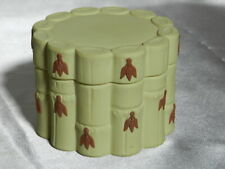 Vintage Wedgwood Pale Yellow Bamboo Trinket Box w/ Lid Made in England Vt3982