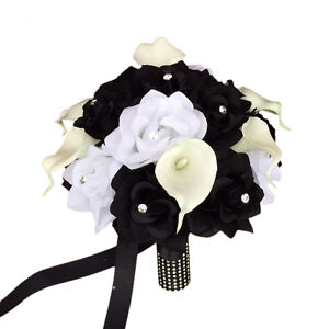 """10"""" Bouquet: Black and White silk roses with rhinestone,real touch calla lily"""