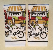 "2 Fat Pastry Chefs Cafe Market Bistro Bicycle Printed Kitchen Towels 16"" x 26"""