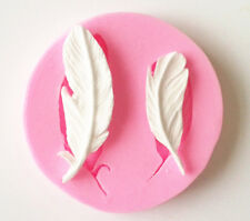 2 Small Feathers Feather Silicon Soap Fondant Icing Chocolate Mold 59mm x 8mm