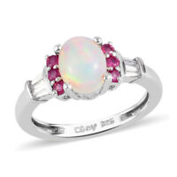 925 Sterling Silver Platinum Over Opal Zircon Promise Ring Jewelry Size 9 Ct 1.4