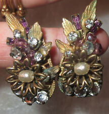 VTGE SIGNED MIRIAM HASKELL BAROQUE PEARL & RHINESTONE FLORAL CLIPON EARRINGS FAB
