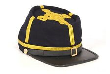 Civil War Union General's Leather Peak Kepi, Complete Navy blue with 4 rows Hat